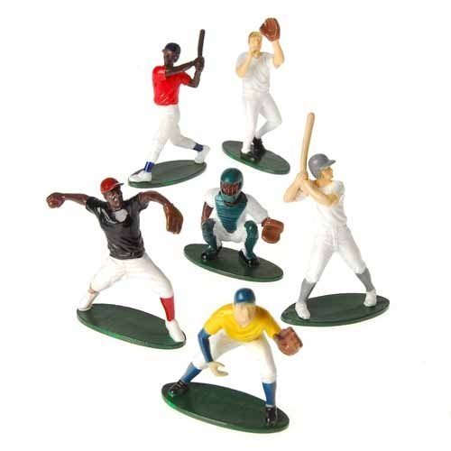 US Toy - Hand Painted Baseball Toy Figures, Set of 12 (Six Assorted Poses)