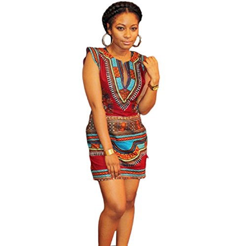 Tonsee Women Casual Sleeveless Traditional African Printed Dress (M)