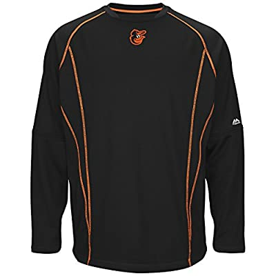 Majestic Mens Baltimore Orioles On Field Practice Pullover