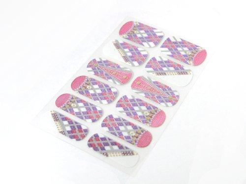 簡単セルフネイルTOPコート不要ネイルシール ネイルパッチ ネイルステッカー ネイルフィルム ネイルラップ 人気 ピンクパープル アーガイル風チェック柄12枚