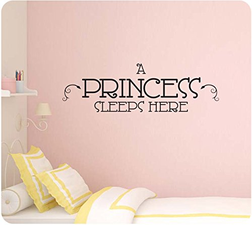 "34"" A Princess Sleeps Here Bedroom Girl Fairytale Dreams Wall Decal Sticker Art Mural Home Décor Quote"