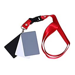 TOAZOE 3 in 1 Pocket-Size Digital White Black Grey Balance Cards Neck Strap 18% Gray Card for Camera and Film Photography (130mm x 90mm)
