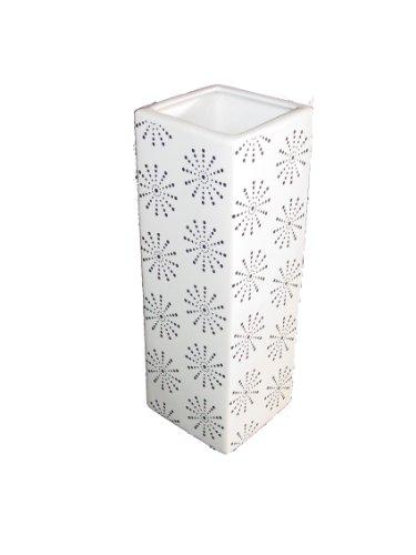 Neue 25.40 cm hoch, Weiß, Vase, quadratisch, mit Schneeflocken Design, Schwarz