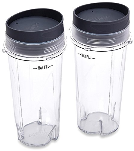 Ninja XWP002CS Single Serve Cups with Lids, Clear, 16-Ounce (Ninja Blender Single Cups compare prices)