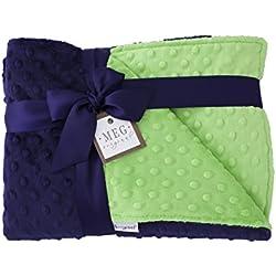 MEG Original Navy Blue & Lime Green Minky Dot Baby Boy/Toddler Crib Blanket 989