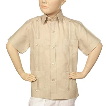 Boys linen short sleeve natural guayabera.