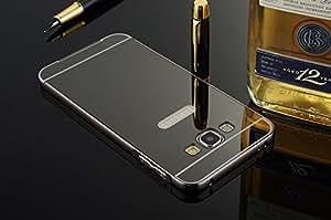 GnG Metal Bumper Cum Acrylic Mirror Glass Luxury Back Case Cover For Samsung Galaxy J7 -(Black)