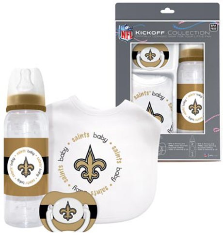 New Orleans Saints Baby Three Piece Gift Set Feeding Bib Bottle Pacifier front-1059213