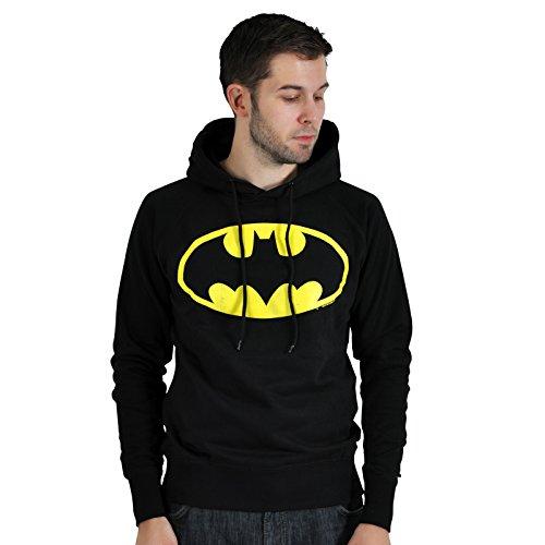 Batman - Felpa deluxe con cappuccio e stampa del logo vintage dell'eroe della DC Comics - Nero - XL
