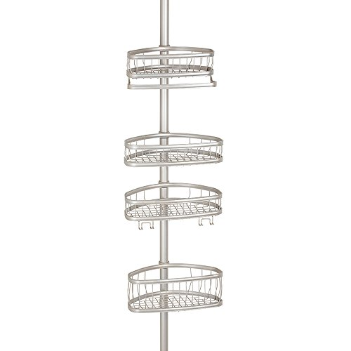 InterDesign York Bathroom Constant Tension Corner Shower Caddy for Shampoo, Conditioner, Soap - Satin (Satin Polished Stainless Steel compare prices)