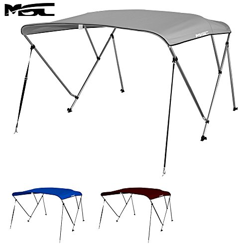 MSC® Standard 3 Bow Bimini Boat Top Cover with Rear Support Pole and Storage Boot (Grey, 3 Bow 6