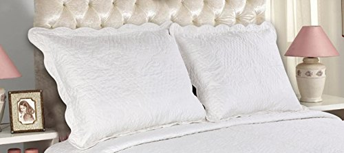 Buy Cheap All For You 2-Piece Embroidered Pillow Shams-King size-white color (king, white)-free ship...