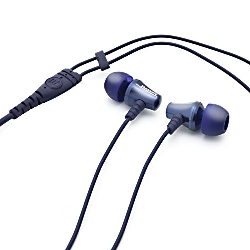 Brainwavz Jive Cuffie Auricolari in-ear con Isolamento Acustico Microfono e Telecomando a 3 Pulsanti (Blu Android)
