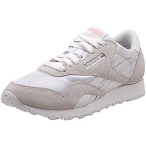 Reebok Women's Classic Nylon Sneaker,White/Light Grey,8.5 M US