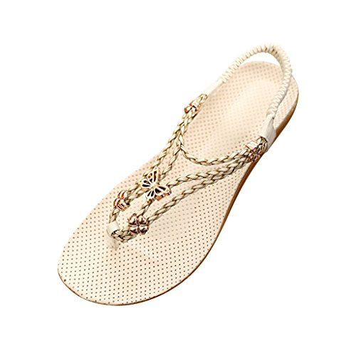 Hee Grand Women Fashion Butterfly Decoration Beach Thong Sandals