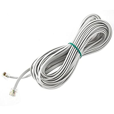 6P6C RJ11 Telephone Extension Fax Modem Cable Line 33Ft Length White