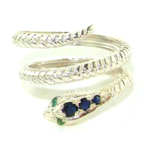 Fabulous Solid Sterling Silver Natural Sapphire & Emerald Detailed Snake Ring - Size 12 - Finger Sizes 5 to 12 Available - Suitable as an Anniversary ring, Engagement ring, Eternity ring, or Promise ring