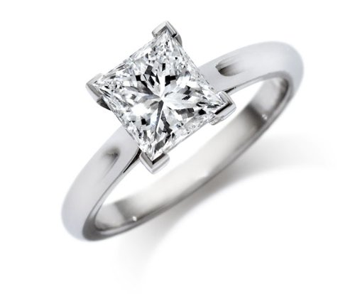 14k White Gold GIA Certified Princess Cut Diamond Engagement Ring (3.01 Ct, F Color, VS1 Clarity) Free Ring Sizing