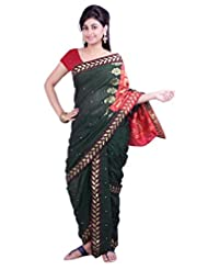 ISHIN 8 Meter Ready to wear Navari Cotton Green Saree