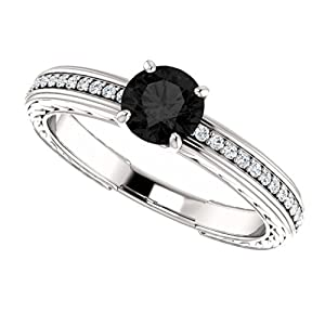 Platinum Round Cut Black and White Diamond Engagement Ring