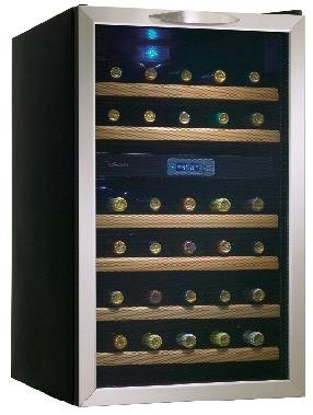 Danby DWC283BLS 3.5-Cu.Ft. 30-Bottle Free-Standing Wine Cooler, Black/Stainless