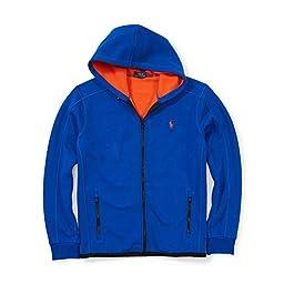 Polo Ralph Lauren Mens Bonded Fleece Zip Up Hoodie Jacket (X-Large, Sapphire Star Blue)