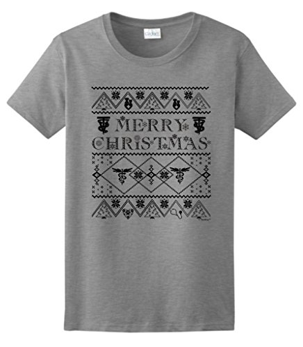 Ugly Christmas Sweater For Vet Techs Ladies T-Shirt Medium Sport Grey