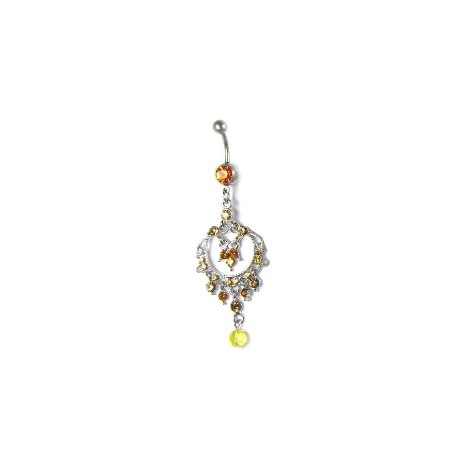 Stainless Steel Belly Ring with Orange CZ   Dangle Jewelry