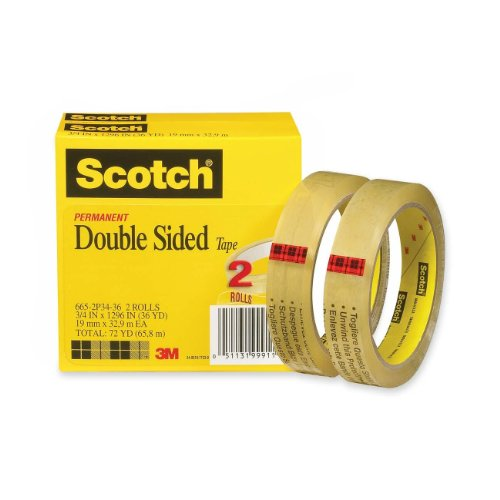 Scotch® Double Sided Tape 665-2P34-36, 3/4-Inch X 1296 Inches, 2-Pack