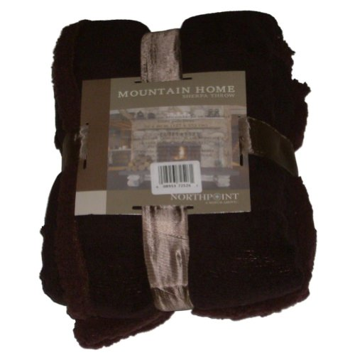 Northpoint Mountain Home Brown Micromink & Sherpa Fleece Plush Throw Blanket front-894761