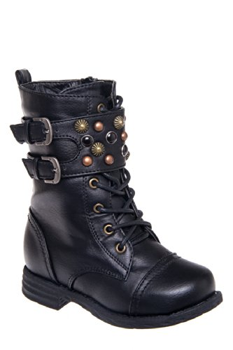 Eddie Marc Kid's 6072 Studded Lace Up Combat Boot