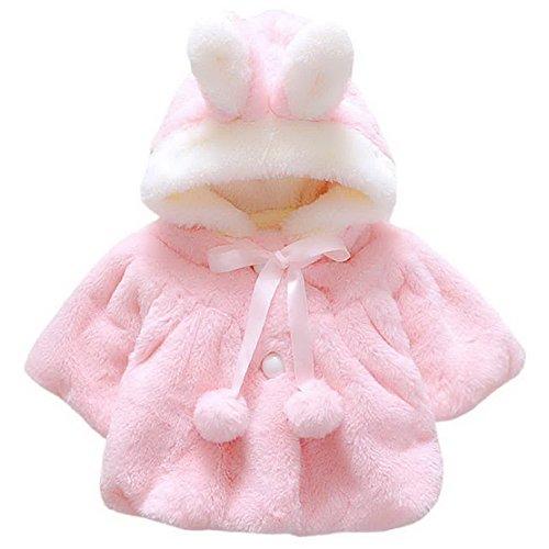 Happy Cherry - Abrigo de Capucha de Conejito Adorable y Suave para Invierno Primavera de Bebés Niñas Rosa