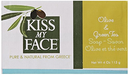 Kiss My Face Bar Soap, Olive and Green Tea, 4 Ounce (Pack of 24) - 1