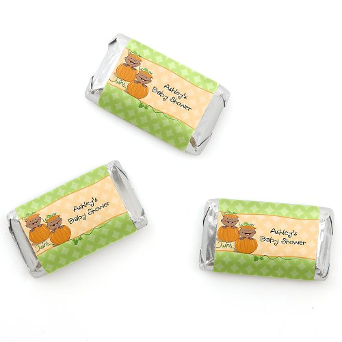 Twin Little Pumpkins African American - Personalized Baby Shower Mini Candy Bar Wrapper Favors - 20 Ct front-807130