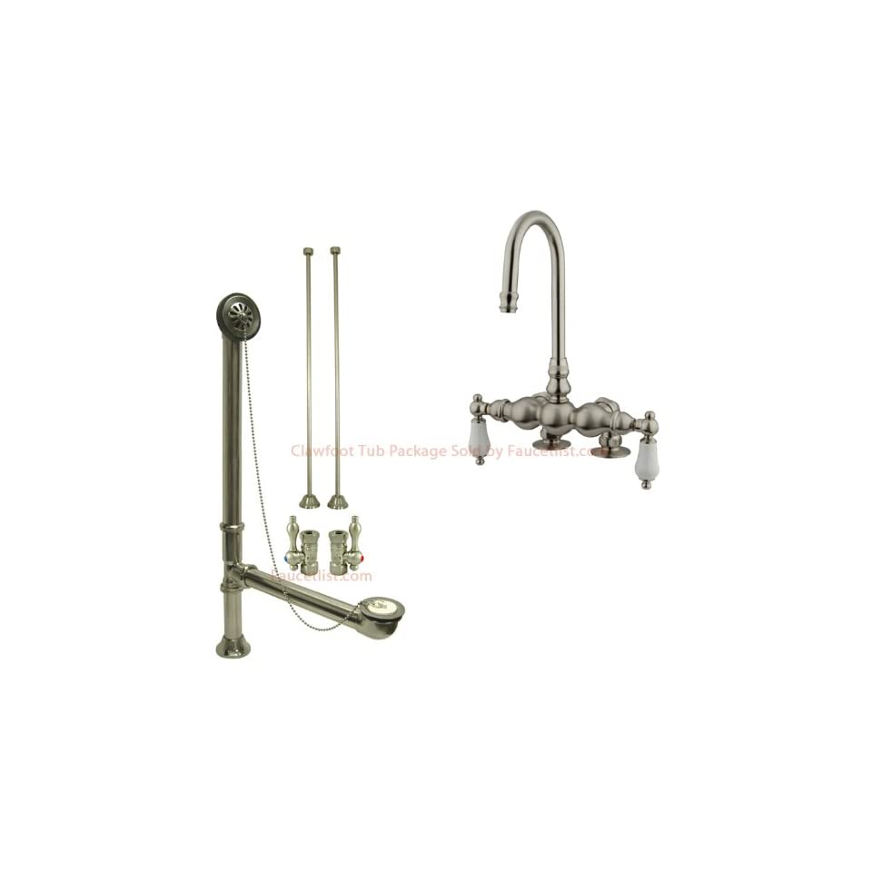 Satin Nickel Deck Mount Clawfoot Tub Faucet Package Supply Lines