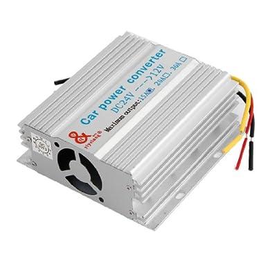 Silver Tone Shell 15A 180W 6 Wires Power Transformer DC 24V to 12V