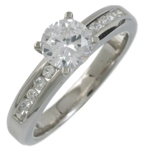 Silver Cubic Zirconia Engagement Ring with Cubic Zirconia shoulders L