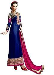 Isha Enterprise Women's Blue Georgette Long Anarkali Suit