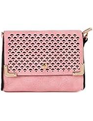 ToniQ Pink Geomentric Cut-Work Sling Bag Girls,Women(Pink)