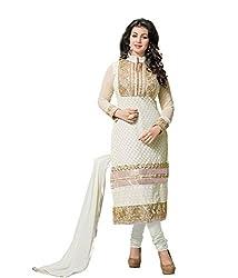 Starwordn Beautiful Heavy Tarzan White Semi stiched Dress Material High Qualitty