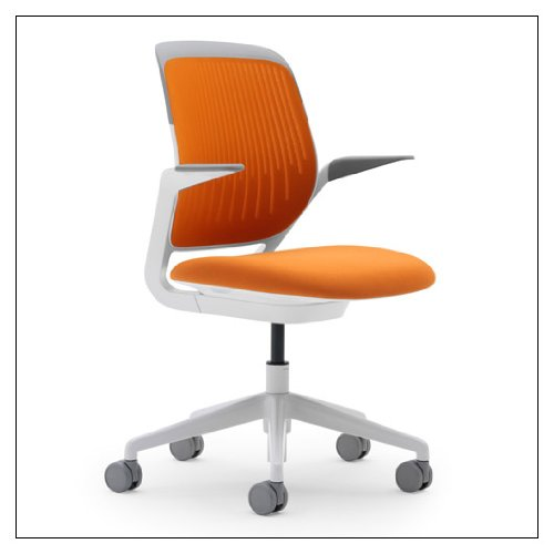 Steelcase Cobi(tm) Collaborative Chair - White Frame by Steelcase, color = Tangerine