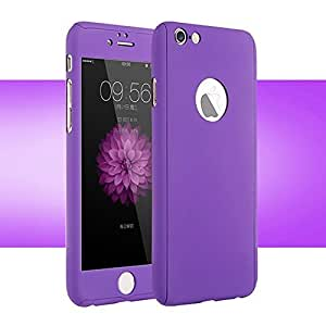 ROKAYA™ Protective Slim Fit 360 Hybrid Body Cover Case with Tempered Glass for Apple iPhone 5 / 5S (Purple)