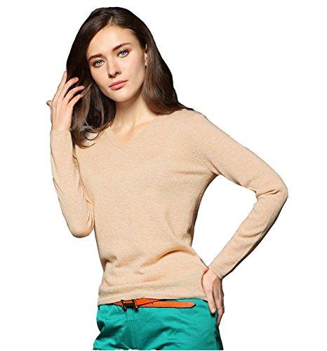 Miuk slim, con scollo a V, da donna, a maniche lunghe, 100% Cashmere-Pullover felpa beige Medium