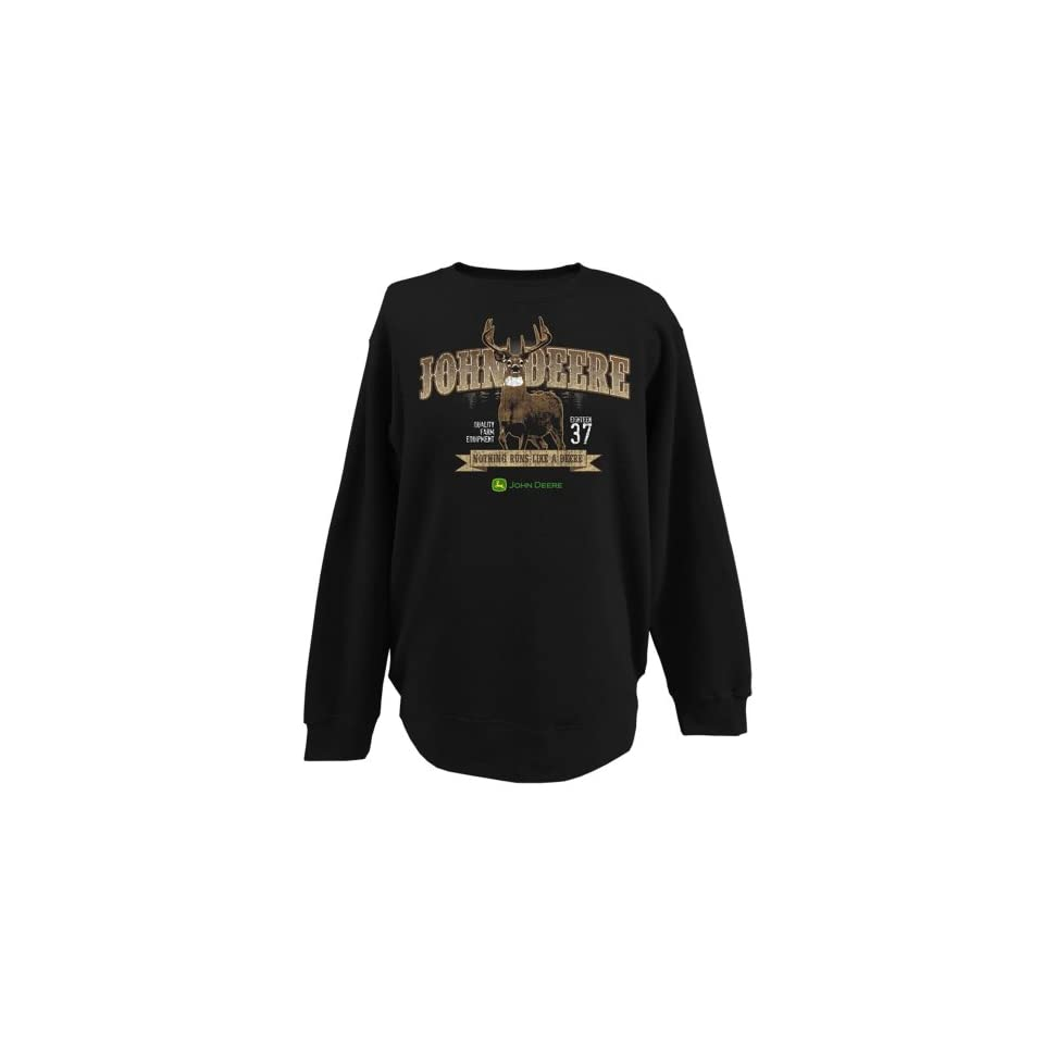 John Deere Mens Buck Print Crew Neck Fleece Shirt   Black