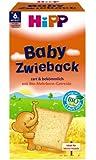 Hipp Baby Zwieback 3555, 6er Pack (6 x 100 g Packung) - Bio