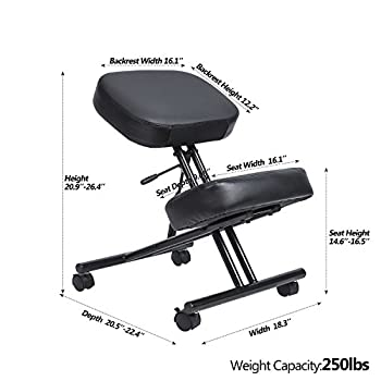 LCH Ergonomic Leather Kneeling Chair - Adjustable Knee Stool with Thick Double Padded Cushions For Home and Office