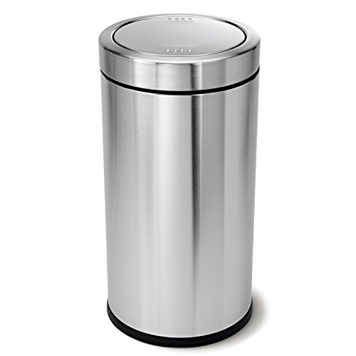 simplehuman Swing Top Trash Can, Commercial Grade, Stainless Steel, 55 L / 14.5 Gal (Large Commercial Garbage Can compare prices)