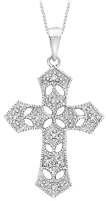 Carissima 9ct White Gold 0.06ct Diamond Filigree Cross Pendant on Chain Necklace 46cm/18""