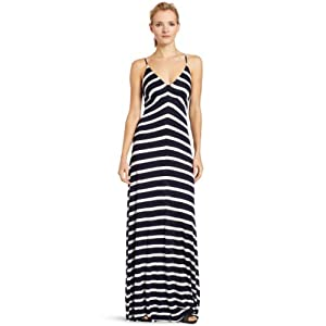 eight sixty Women's Stripe Maxi Dress, Navy/Scour, Small