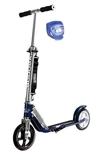 Hudora Scooter / Roller / Cityroller Big Wheel MC / RX 205 mit LENKERLICHT (METALLIC BLAU 14736)